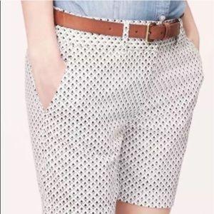 LOFT Riviera Spade Print Linen Blend Shorts